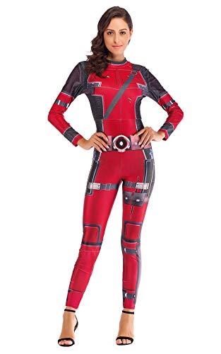 URVIP Damen Halloween Party Cosplay 3D Gedruckt Kostüm Overalls Bodysuit One Piece Body Anzug Karneval Fasching B108-004 ()