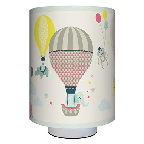anna wand Tischlampe HOT AIR BALLOONS TAUPE/BLAU/KORALLE - Kinderzimmerlampe m. Heißluftballons - inkl. Lampenschirm/Lampenfuß/Stoffkabel & Leuchtmittel - Kinder Tischleuchte für Mädchen & Jungen