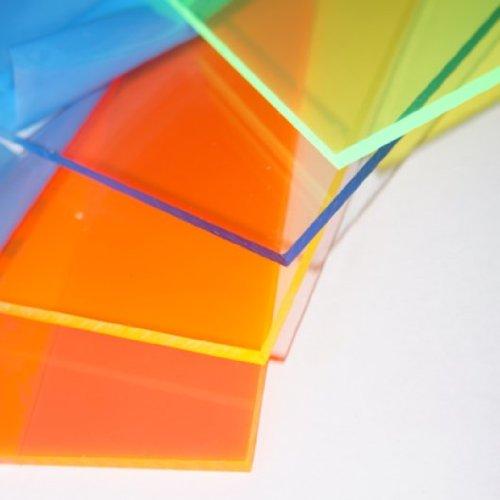 Policarbonato corte placa 300 x 200 x 3 mm acrílico amarillo fluorescente