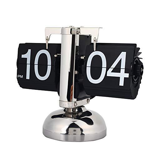 TOPmountain Retro Automatische Seite Drehen Digital Wecker Vintage Moderne Tischständer Uhr Home Shop DIY Decor, Schwarz (Moderne Uhr Und Kalender)