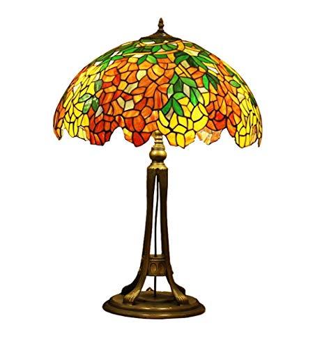 Luminaire de 20 Pouces, Abat-Jour en Verre de Style Tiffany, Lampe de Bureau Art Deco en Verre Teinté, Lampe de Table Creative de Style Européen Pour le Salon Bar Cafe, BOSSLV