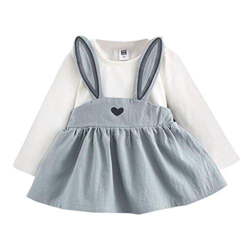 VENMO Baby Kinder Röcke Kleinkind Mädchenhemd Netter Kaninchen Verband-Anzug Minikleid Blumen Baumwolle Kleid Baumwolle Kleid Strampler Casual Niedliche Printed Kleider 0-3 Jahre (Size:3-8M, Blue) (Anzug Rock Blue)