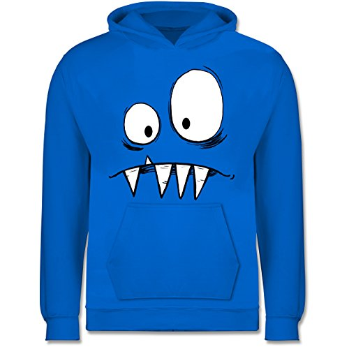 Hoodie Kostüm Kind Monster - Shirtracer Karneval & Fasching Kinder - Monster Kostüm - 12-13 Jahre (152) - Himmelblau - JH001K - Kinder Hoodie
