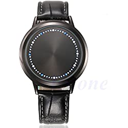 Men's Couple Watch Black - Personalized Intelligent Fashion Concept of Creative Leather Belt Simple Waterproof LED