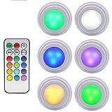 GreeSuit Luci Colorate LED a Batteria per Armadio Telecomando Wireless Luminosità Regolabile Luce LED per vetrinetta a pozzetto, luci a LED Multicolor accese alimentate a Batteria (Confezione da 6)