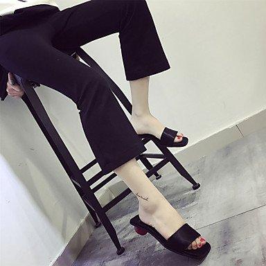 LvYuan Da donna-Pantofole e infradito-Casual-Comoda-Basso-PU (Poliuretano)-Nero Grigio Black