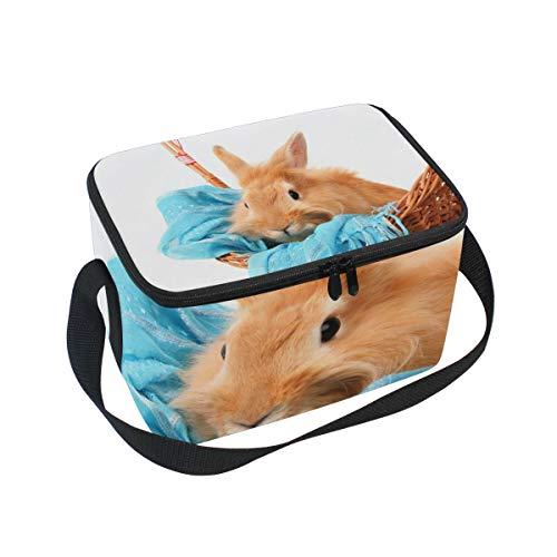 Bolsa de almuerzo con conejo en cesta con bufanda azul para picnic...