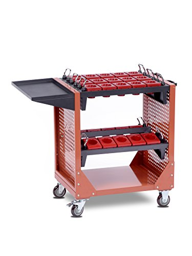 Preisvergleich Produktbild CTC fahrbarer Werkzeugwagen GK-4007, oben Fächer für CNC-Werkzeug, mit Stauraum und 3 Schubladen, 100% Auszug, bis 140 kg belastbar – CNC-Spezial-Werkzeugwagen
