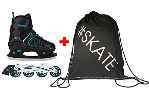 SET - SPOKEY XROUT Inline Skates / Schlittschuhe mit austauschbarer Schiene + ULTRAPOWER Beutelrucksack | Kinder | Damen | Inliner | Blades | Rollen | Kufe | ABEC7 |...
