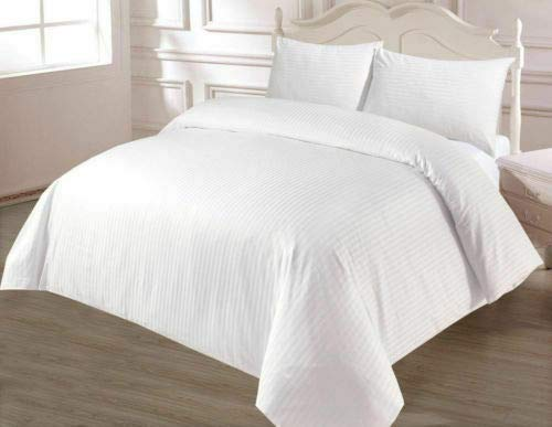 Bedding Beats Bettwäsche-Set, 100% ägyptischer Baumwollsatin, Fadenzahl 250, White Sateen Stripes, Super King Duvet Cover (220 x 260 cm) (Cover Duvet King Weiß)