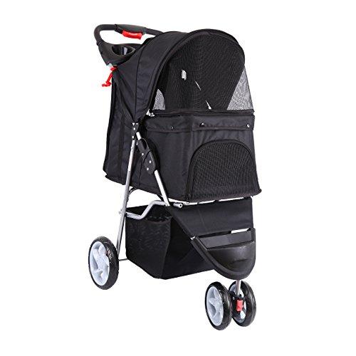 Paneltech Hundewagen Hundebuggy Hunde Buggy Pet Stroller mit Becherhalter&Einkaufstasche Pet Buggy zum Transport von Hunden/Vierbeinern (Schwarz)