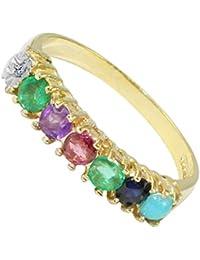 BJC® 9ct oro Amarillo Dearest Anillo Diamante Esmeralda amatista rubí esmeralda zafiro turquesa (I)