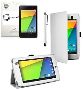 """Neuf InventCase® BLANC (WHITE) Étui/Housse en cuir peau de Couverture de cas Folio pour le Nouveau Google Nexus 7 FHD 2013 (7 pouces) Tablet Jelly Bean Android 4.3 (16 GB / 32 GB WiFi / 4G LTE) avec Auto Sommeil (""""Sleep Function"""") / Multi-Vue Levez-Vous et Protecteur D'écran et Stylet (Compatible avec Nexus 7 FHD 2 2.0 Tablet II)"""