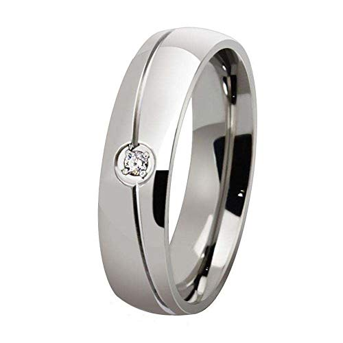 Daeou Ringe für Damen Titanium Stahl-Männer und Frauen Universal Ring Satz einzelner Diamant Ring bezieht Sich auf Anti-Allergie-Ring zum Senden von fam Galvanik ILY Freunde - Gold Diamant-hochzeit Ring-sätze
