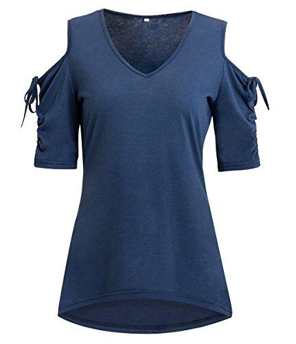 Minetom Donna Estate Sexy Collo V Manica Corta Shirring Breve Maglietta Senza Spalline Colore Solido Camicetta Bluse Shirts Tops Blu