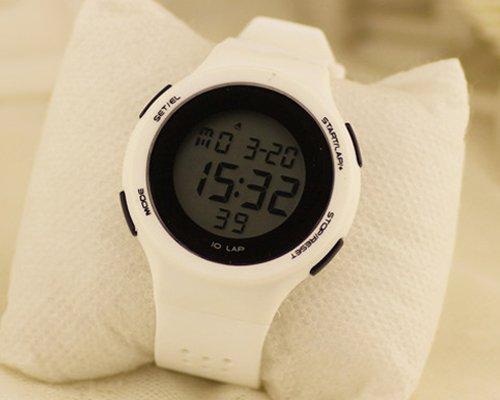DSstyles reloj digital reloj deportivo relojes para las niñas con luz de cronógrafo de alarma - blanco...