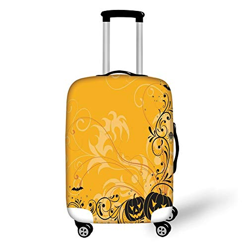 Travel Luggage Cover Suitcase Protector,Halloween Decorations,Carved Pumpkins with Floral Patterns Bats and Webs Horror Artwork,Orange Black,for Travel,S