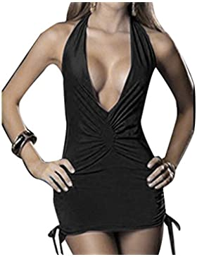 Mujeres Halter Deep V Body Bodycon Nightwear Backless Paquete Hip Lingerie Mini Dress