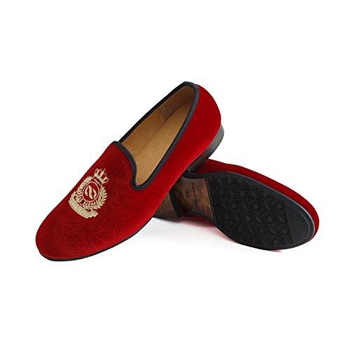 Veste en velours vintage Flâneur hommes broderie Noble Hommes Chaussures à enfiler Flâneur fumer Chaussons Noir/Bleu Rouge - rouge