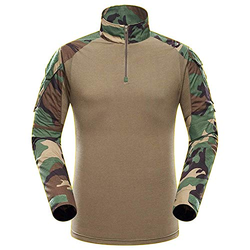 QMFIVE Airsoft Shirt, Men's Long Sleeve Camouflage Camo Combat T-Shirt for Tactical Airsoft Paintbal (Camo Long Sleeve)