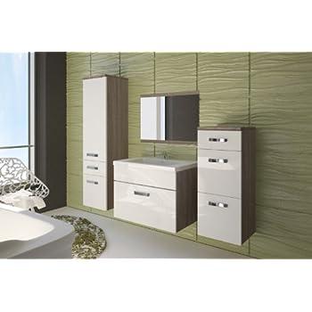Badezimmermöbel weiß grau  Badmöbel / Badezimmer EVO 5tlg. Set in Hochglanz weiss / Sonoma ...