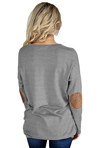 SZIVYSHI Casual a Maniche Lunghe Elbow Patch Crewneck Basic Base Sweatshirt Felpa Shirt Camicia T-Shirt Maglietta Tee Top Grigio