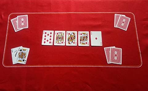 RED POKER CASINO FELT BAIZE LAYOUT - TEXAS HOLDEM