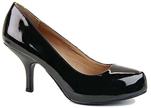 Black Patent Size 4 - Ladies Womens Work Casual Office Smart Low Mid High Kitten Stiletto Heels Bridal Court Bridesmaid Shoes