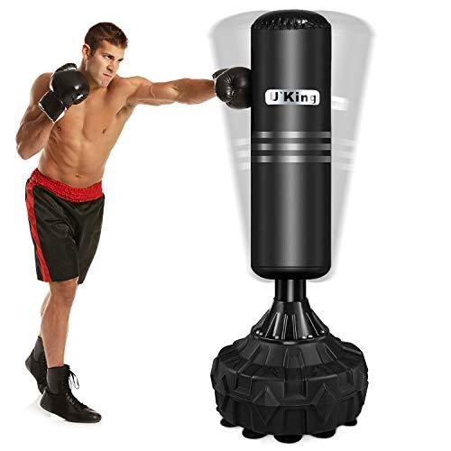 U'King Boxsack Freistehender Standboxsack Boxpartner Boxing Trainer Heavy Duty Boxsack Set Stehend Boxsäule Tumbler, Schwarz