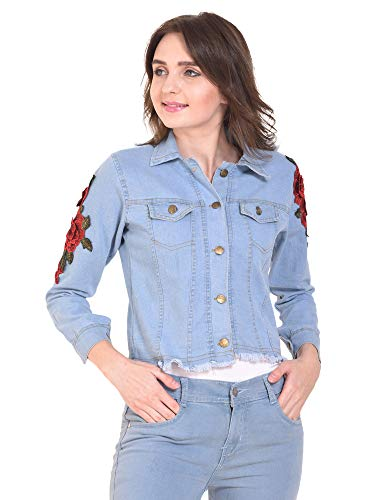 DIMPY GARMENTS BuyNewTrend Stone Wash Denim Light Blue Jacket for Women with Rose Patch