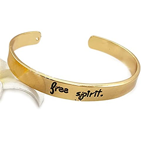 Free Spirit Inspirational regolabile braccialetto polsino Messaggio positivo Inspirational Quote