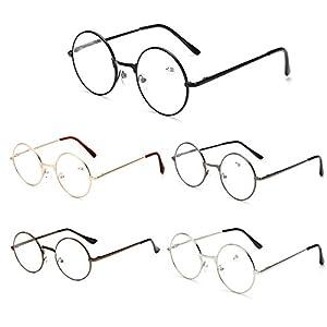 VEVESMUNDO Runde Metall Lesebrille Herren Damen Nickelbrille Lennon Brille Lesehilfe Stärke