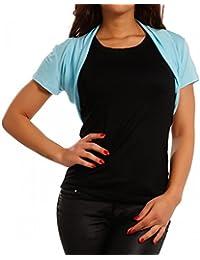 Damen Bolero Basic Shirtbolero Shirtjacke mit Stretch One Size