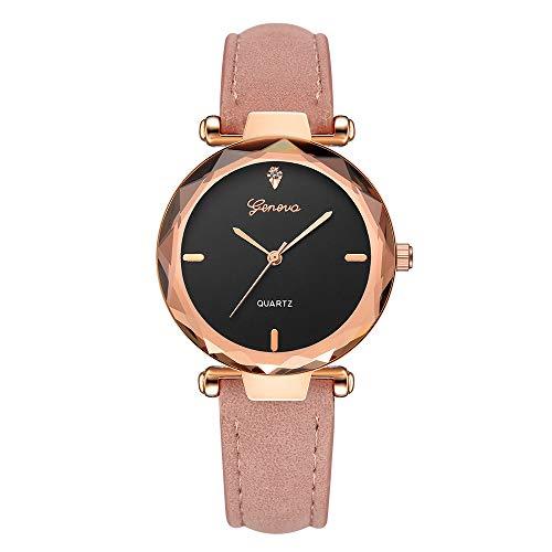Giologre Uhren Damen, Geflochten Armbanduhren Günstige Uhren Wasserdicht Casual Analoge Quarz Uhr Luxus Armband Coole Uhren Lederarmband Mädchen Frau Uhr (Pink)
