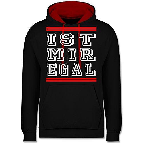 Statement Shirts - IST MIR EGAL - Kontrast Hoodie Schwarz/Rot