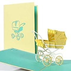 Idea Regalo - Biglietti invito baby shower 3d per bimbo o bimba, biglietti auguri baby shower pop up bambino e bambina, cartolina nascita neonato con carrozzina, G13.4