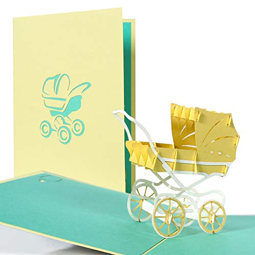 g13.4 Pop Up Pram Card, usable for Girl and boy, New Baby...