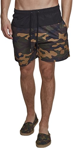 Urban Classics Herren Block Swim Shorts Schwimmshirt, per Pack Mehrfarbig (blk/Woodcamo 00565), X-Large (Herstellergröße: XL)