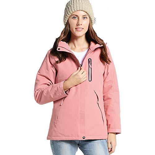 Ymorit Frauen intelligent warm halten elektronische Heizung Jacke USB schnelle Heizung einstellbare Temperatur Wasserdichte Mantel Kapuzenjacke,Pink,S