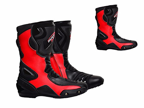 maxfive Motorrad Stiefel Sting 007 Racing Touring Sports On Road Heavy Duty Profil und Stiefel Motorrad lang Knöchelschutz Schuhe Racing Sport | rot (Stahl Zehen Stiefel Wasserdicht)