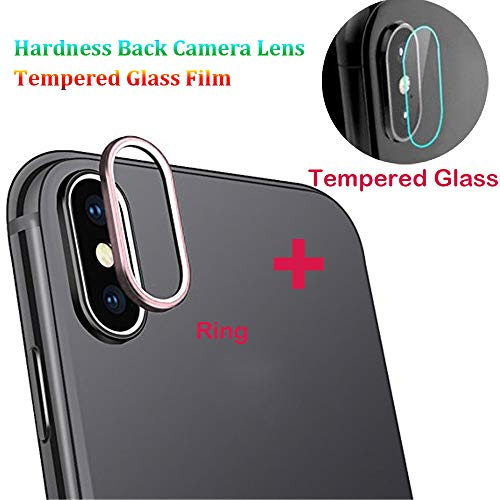 3D Paladin Enshroud für iPhone XS Max 6.5 inch Zoll 9H Härte Bedclothes Unwavering Zurück Build Camera Lens Kameralinse gehärtetes Glas Screen Covering Heedful Cover + Metalllinse Schutzring Bildschirm (Rosa Gold)