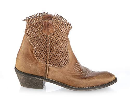 Divine Follie 6746 Damen Cowboystiefel, Kalbsleder, Camel, Beige (Camel), 37 EU - Pointy Toe Knee High Boots