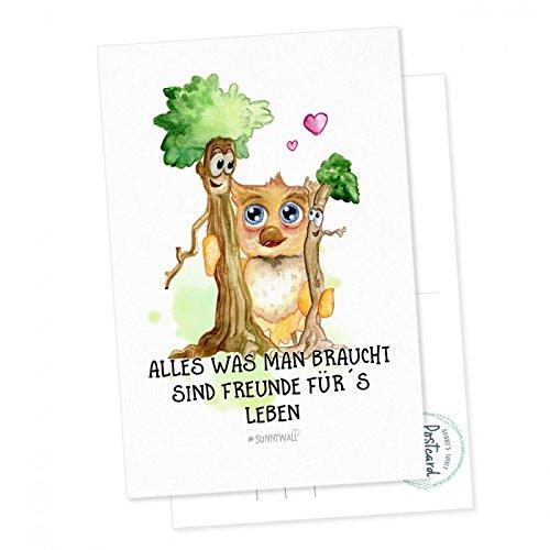 Postkarte Sunny die Eule - Alles was man braucht, sind Freunde für´s Leben