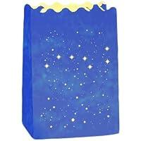 Wenko Luminaria grandi Cart portacandela antivento, Set da 6, in cartone carta cellulosa, 11x 16x 9cm, Blu 8580100