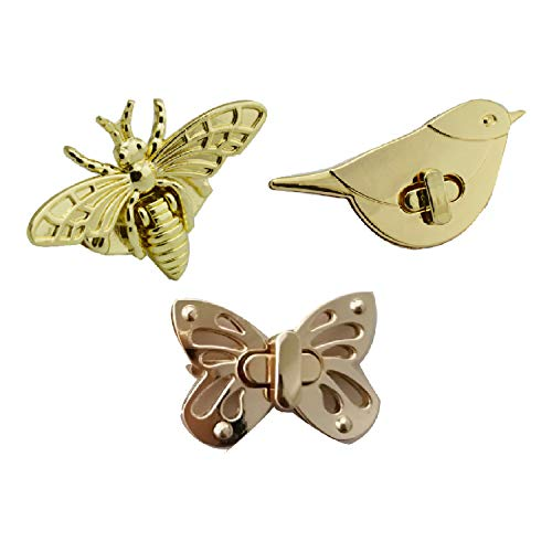 CAILI Twist Turn Lock Geldbörse Sperre,Niedliche Bienen/Vogel/Schmetterlings drehschnalle Drehverschluss Snap Tasche Zubehoer Schnalle Twist für Leder Handtasche Tasche Zubehör(3 Pcs) -