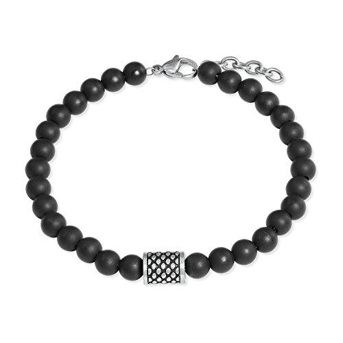 s.Oliver Herren-Armband Edelstahl Onyx schwarz matt längenverstellbar 20+2cm