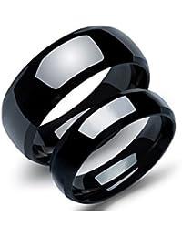 Bishilin 1 Par Joyería de Anillo de Acero Inoxidable Alto Pulido Ronda Ancho 8/6 MM Anillo de Boda Negro para Parejas