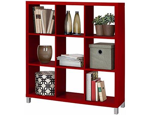 Regal, Bücherregale, Raumteiler KNOX aus FSC Holzwerkstoff mit 4, 6, 8, 9, 16 Fächer in 5 Farben: schwarz, weiß, rot, grün, Buche zur Auswahl (9 Fächer, rot) Bücherregal Mit 4 Füßen