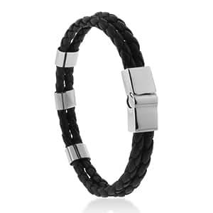 Bracelet Motif 3 Bande Cuir Noir 2 Fil Acier Inoxydable Authentique Pour Homme