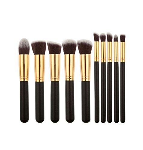 Incendemme 10pcs. Damen Pinselset Schminkpinsel Kosmetikpinsel Pinsel Make Up Werkezug (Schwarz-Gold) (Kabuki Karneval Kostüm)